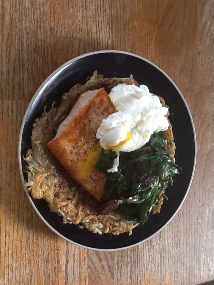 Salmon and poached egg