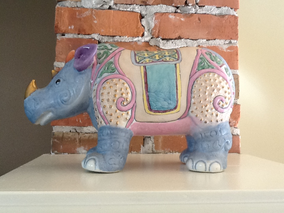 The Rhino from Singapore oversees the new living room