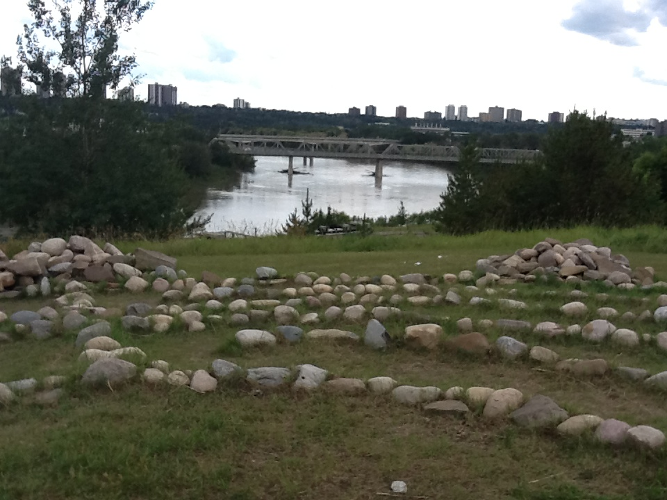 Turtle Rock Effigy Labyrinth by Leah Dorion in Louise McKinney Park