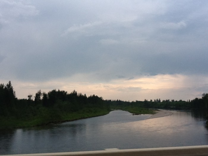 The Red Deer River from the bridge on Highway 54