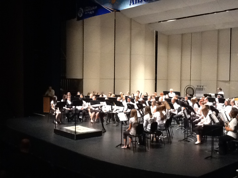 Jasmine playing at the final concert for band camp at Red Deer College