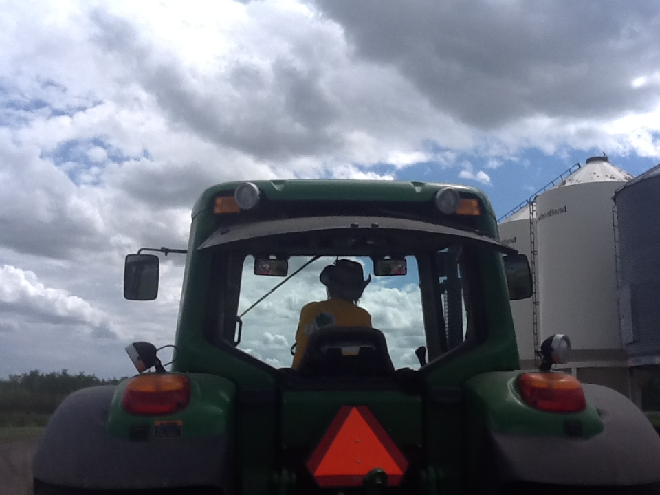 Elna Edgar driving a tractor at the Asparagus Festival