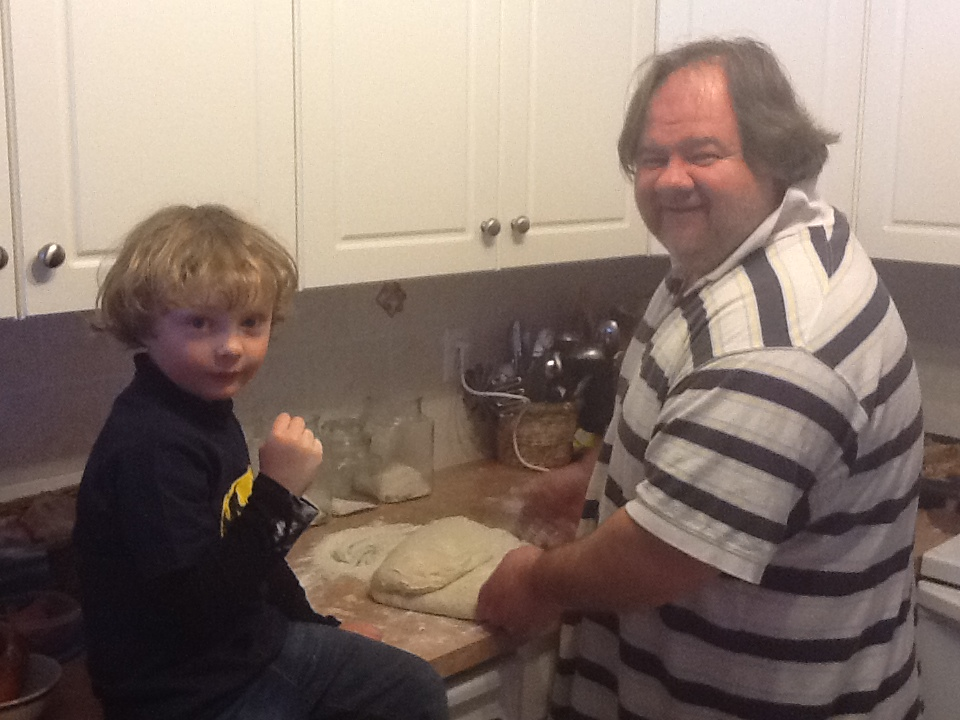 Justin and Tom getting ready for Pizza Night