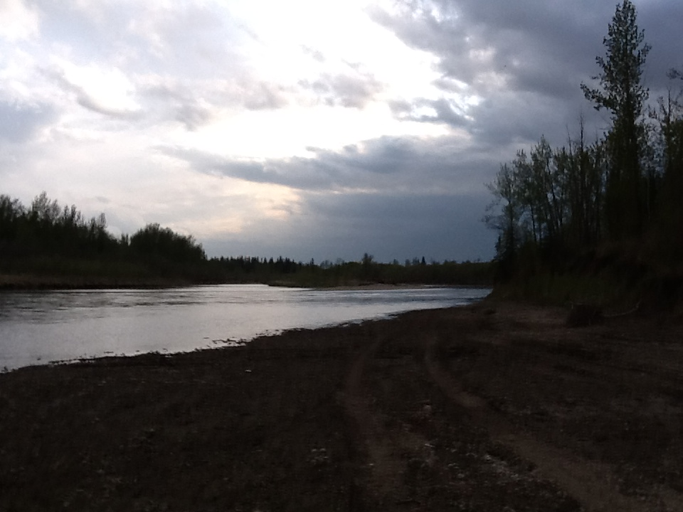 The Red Deer River at the highway 54 Bridge