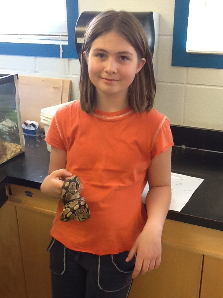 Jasmine @IHS with Goliath, the snake