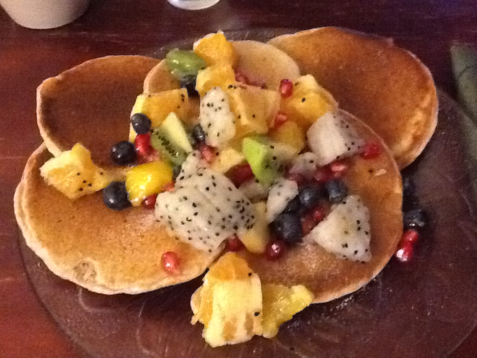 Pancakes with tropical fruit salad prepared by Paris