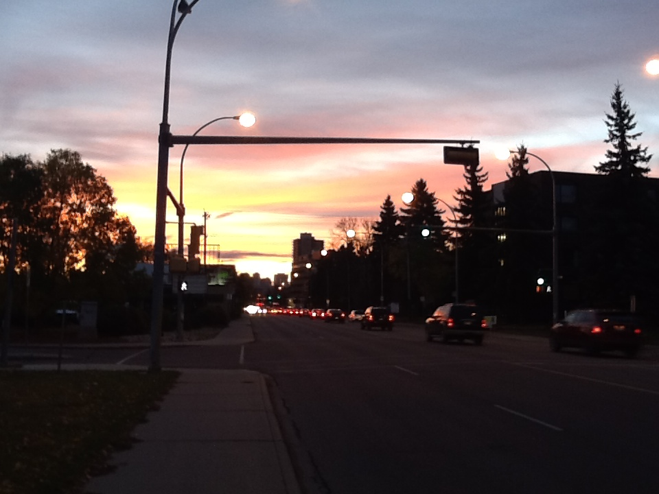 Sunrise over Stoney Plain Road