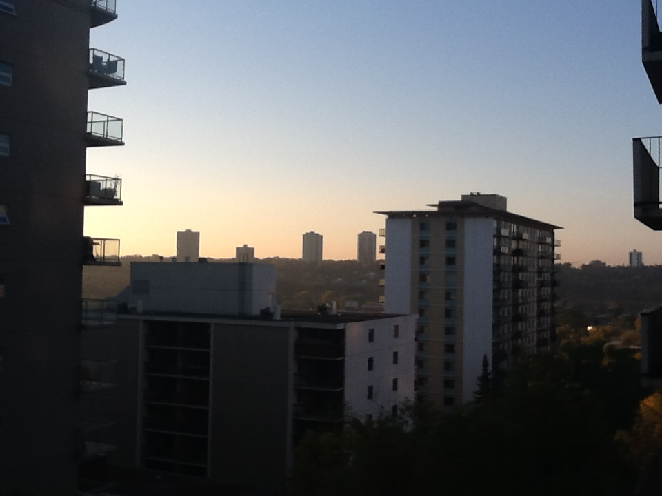 Sunrise from 104 Street and 99 Ave