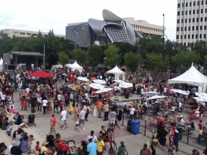 Churchill Square after the Cariwest parade