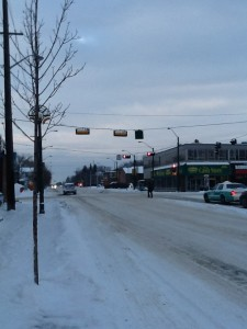 The intersection of 124 Street and 107 Avenue