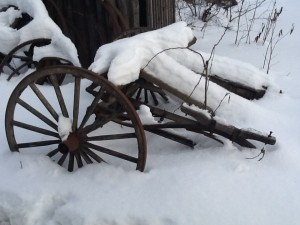 Snow Covered Equipment at Fort Edmonton