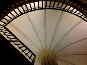 Part of the circular staircase in one of the annex buildings of the Alberta Legislature