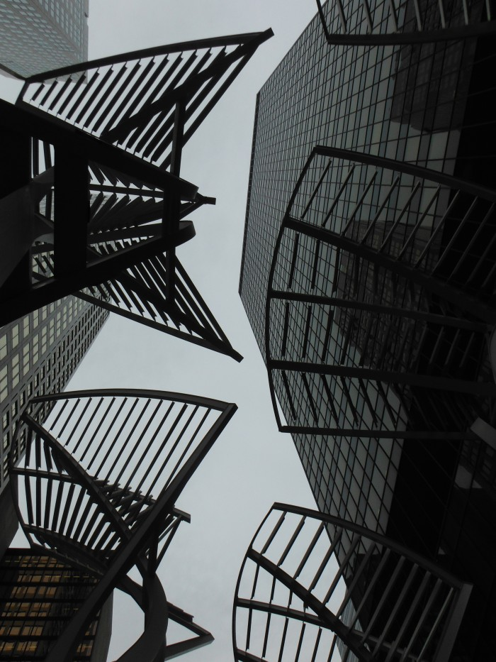 Looking up at the sculptures along Stephen Avenue in Calgary