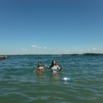 Paris and Jasmine swimming in Lake Couchiching, Orillia Ontario