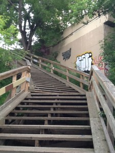 Staircase near 112 Street and the river