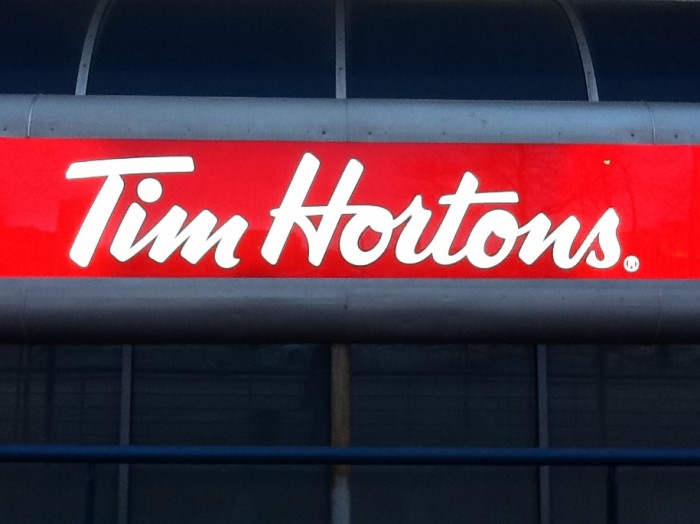 The Timmy's sign where I get off the bus