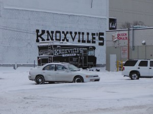 The Knoxville Pub sign and motorhome