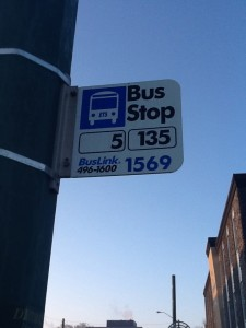 The 5/135 bus Stop on 124th Street