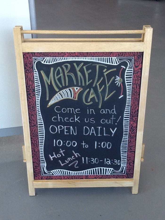 Menu at the Market Cafe at the CTS Centre in Calgary