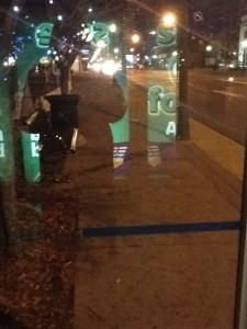 Bus Shelter Shadows and Reflections