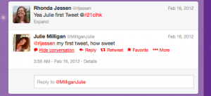 @MilliganJulie First Tweet @21clhk