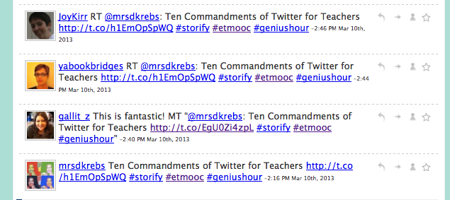 Storify: Tweets Ten Commandments of Twitter for Teachers