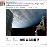 Photo of Canadarm Tweeted from the International Space Station by @cmdrHadfield