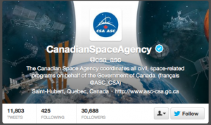Click on the Follow button to follow the Canadian Space Agency
