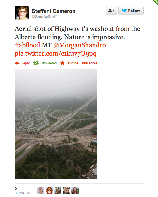 Arial view of Trans Canada highway washout in Canmore