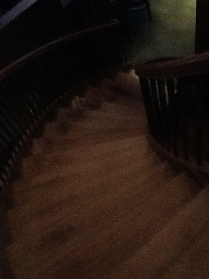 Circular staircase at Iron Goat in Canmore