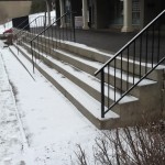 Another snowy staircase on Jasper Ave