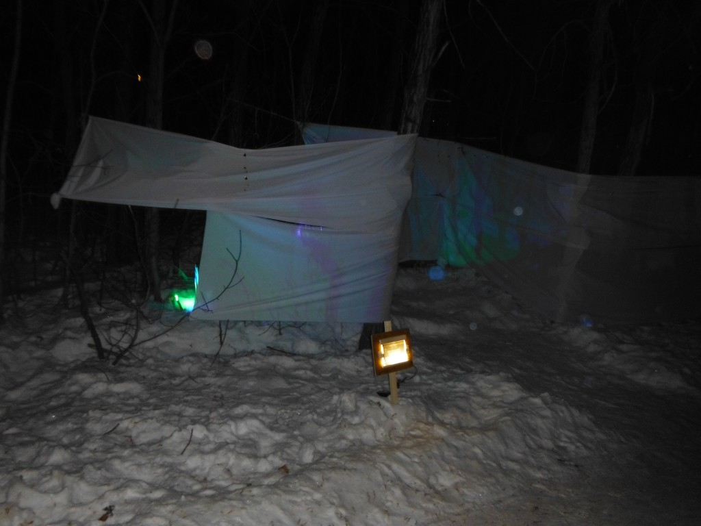 Light installation at he Flying Canoe Adventure Walk
