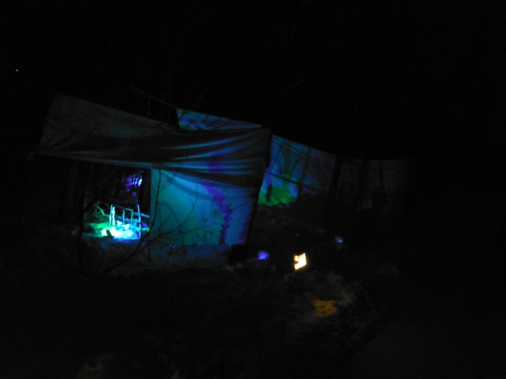 Light installation at the Flying Canoe Adventure Walk