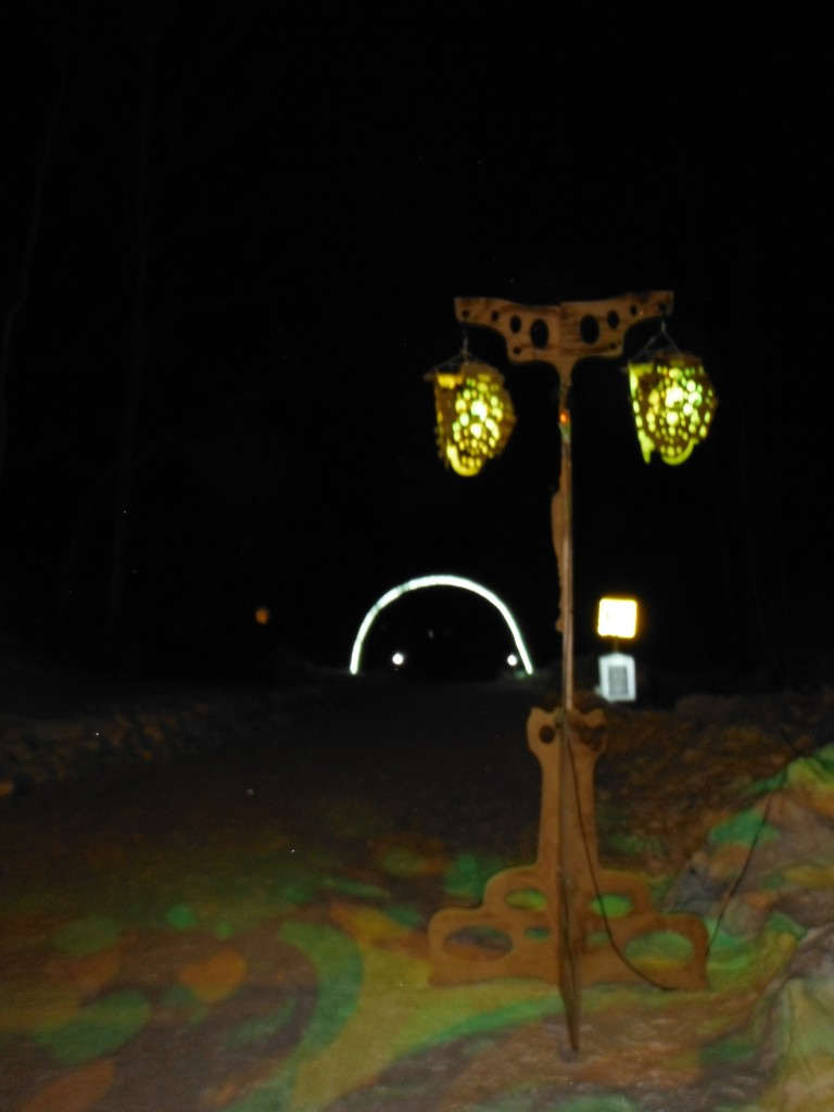 Lights at the start of the Flying Canoe Adventure Walk
