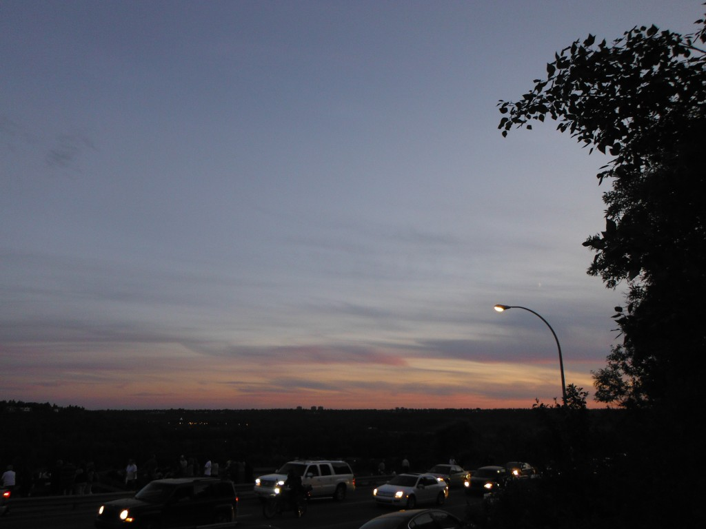 Crescent moon and sunset along Victoria Park Road