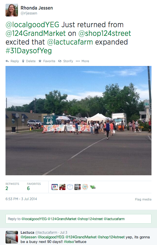 July 3nd Tweet for 31 Days of Yeg