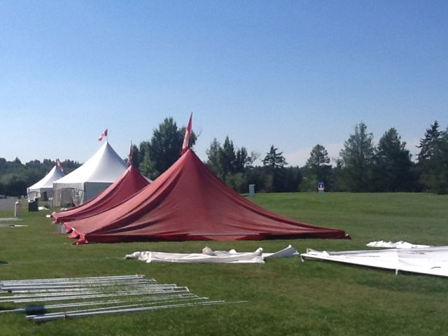 Setting up for Heritage Fest