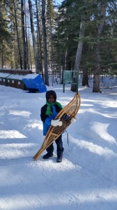 Trying out snowshoeing