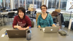 Stephanie and Angie getting ready for the start of Startup Weekend Education Edmonton