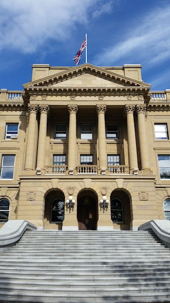 The side door of the Legislature building
